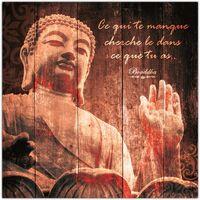 Maison & Déco Cadres photo Sud Trading Cadre Bouddha - 40 x 40 cm - Ce qui te manque cherche Marron