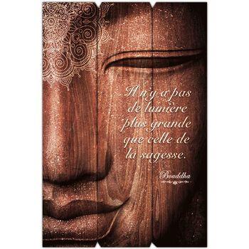 Maison & Déco Cadres photo Sud Trading Cadre Bouddha - 40 x 60 cm - La sagesse Marron