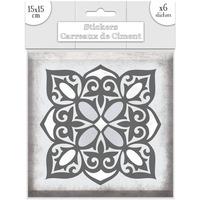 Maison & Déco Stickers Sud Trading 6 Stickers carreaux de ciment Fleurs - 15 x 15 cm Gris