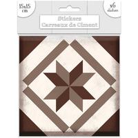 Maison & Déco Stickers Sud Trading 6 Stickers carreaux de ciment Losange - 15 x 15 cm Marron