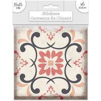 Maison & Déco Stickers Sud Trading 6 Stickers carreaux de ciment Losange - 15 x 15 cm Rose