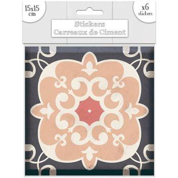 Maison & Déco Stickers Sud Trading 6 Stickers carreaux de ciment Lys - 15 x 15 cm Rose