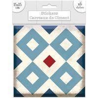 Maison & Déco Stickers Sud Trading 6 Stickers carreaux de ciment Losange - 15 x 15 cm Bleu