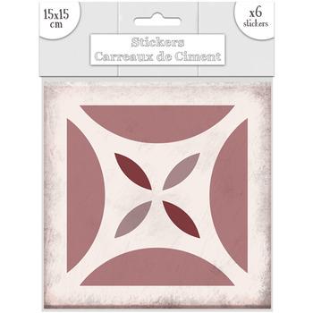 Maison & Déco Stickers Sud Trading 6 Stickers carreaux de ciment Carré - 15 x 15 cm Rose