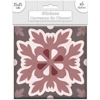 Maison & Déco Stickers Sud Trading 6 Stickers carreaux de ciment Feuilles - 15 x 15 cm Rose