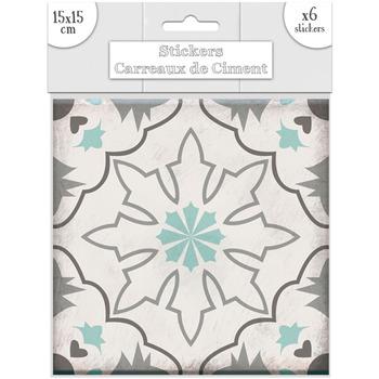 Maison & Déco Stickers Sud Trading 6 Stickers carreaux de ciment Flocons - 15 x 15 cm Vert