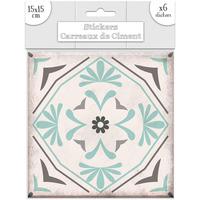 Maison & Déco Stickers Sud Trading 6 Stickers carreaux de ciment Fleurs - 15 x 15 cm Vert