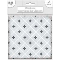 Maison & Déco Stickers Sud Trading 6 Stickers carreaux de ciment Losange - 15 x 15 cm Gris