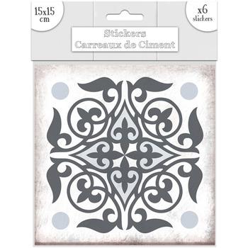 Maison & Déco Stickers Sud Trading 6 Stickers carreaux de ciment Lys - 15 x 15 cm Gris