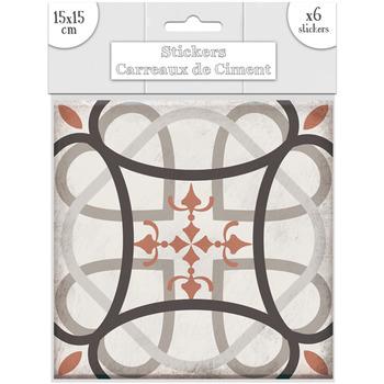 Maison & Déco Stickers Sud Trading 6 Stickers carreaux de ciment Flèches - 15 x 15 cm Taupe