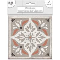 Maison & Déco Stickers Sud Trading 6 Stickers carreaux de ciment Losange - 15 x 15 cm Taupe
