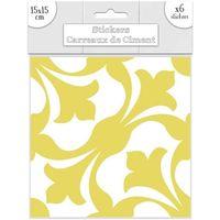Maison & Déco Stickers Sud Trading 6 Stickers carreaux ciment Jaune