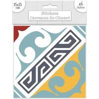 Maison & Déco Stickers Sud Trading 6 Stickers carreaux ciment Orange