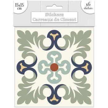 Maison & Déco Stickers Sud Trading 6 Stickers carreaux ciment Marron