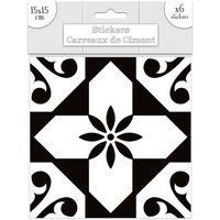 Maison & Déco Stickers Sud Trading 6 Stickers carreaux de ciment Blanc