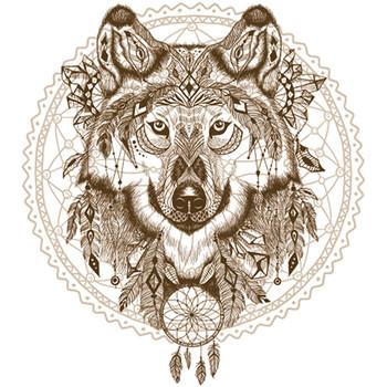 Maison & Déco Stickers Sud Trading Lot 2x Sticker attrape rêves Loup - 70 x 50 cm Marron