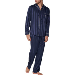 Vêtements Homme Pyjamas / Chemises de nuit Admas For Men Pyjama satin tenue d'intérieur chemise et pantalon Stripes Bleu Marine