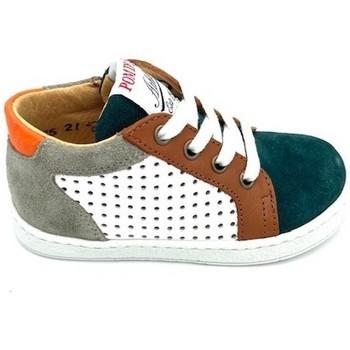 Chaussures Garçon Baskets mode Pom d'Api BASKET LACET ZIPPEE BL Vert