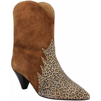 Chaussures Femme Bottines Kmassalia Maggie velours Femme Tan Leopard Marron