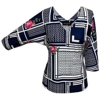 Vêtements Femme Tops / Blouses Georgedé Top Elona Chauve-Souris Imprimé Bleu Marine Multicolore