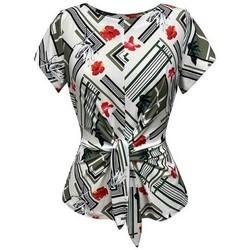 Vêtements Femme Tops / Blouses Georgedé Top Nelly en Jersey Imprimé Kaki Multicolore