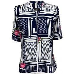 Vêtements Femme Vestes / Blazers Georgedé Veste Aliya en Jersey Imprimée Marine et Ecrue Multicolore