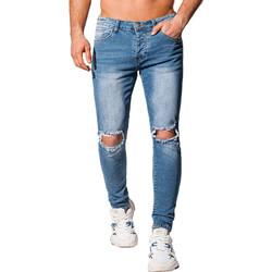 Vêtements Homme Jeans slim Monsieurmode Jean déchiré pour homme Jean 1068 bleu Bleu