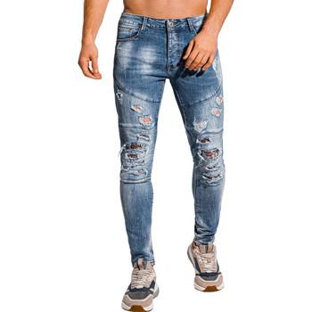 Vêtements Homme Jeans slim Monsieurmode Jeans déchiré pour homme Jeans 1074 bleu Bleu