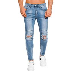 Vêtements Homme Jeans slim Monsieurmode Jean pour homme déchiré Jean 1054 bleu Bleu