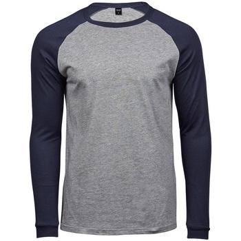 Vêtements Homme T-shirts manches longues Tee Jays T5072 Gris chiné / bleu marine