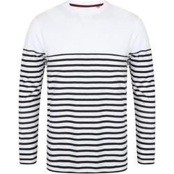 Vêtements Homme T-shirts manches longues Front Row FR134 Blanc / bleu marine