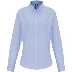 Vêtements Femme Chemises / Chemisiers Premier PR338 Blanc / bleu clair