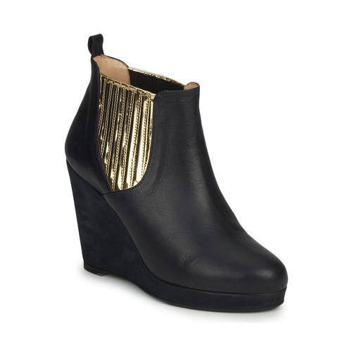 Chaussures Femme Low boots MySuelly LEON Noir / Marine / Or