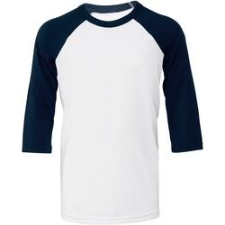 Vêtements Femme T-shirts manches courtes Bella + Canvas BE218 Blanc / bleu marine
