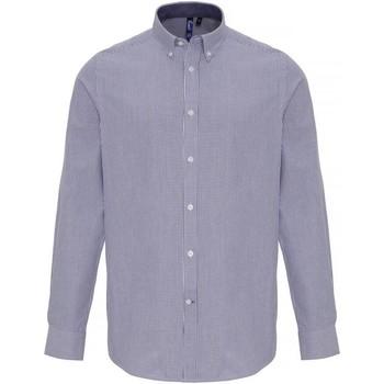 Vêtements Homme Chemises manches longues Premier PR238 Blanc / bleu marine