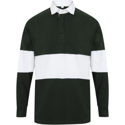 Vêtements Polos manches longues Front Row FR07M Vert bouteille / blanc