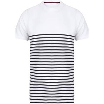 Vêtements T-shirts & Polos Front Row FR135 Blanc / bleu marine