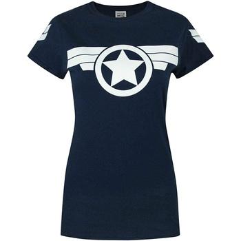 Vêtements Femme T-shirts manches courtes Captain America  Bleu marine