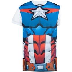 Vêtements Homme T-shirts manches courtes Captain America  Blanc / bleu / rouge
