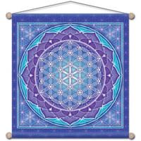 Maison & Déco Tableaux, toiles Zen Et Ethnique Étendard à suspendre Fleur de Vie 37 cm Bleu