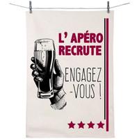 Maison & Déco Torchons Retro Essuie main en coton décoré - L'apéro recrute Blanc