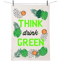 Maison & Déco Torchons Zen Et Ethnique Essuie main en coton décoré - Think Green Blanc