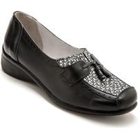 Chaussures Femme Ballerines / babies Pediconfort Sans-gêne bi-matière avec pompons noirimpargent