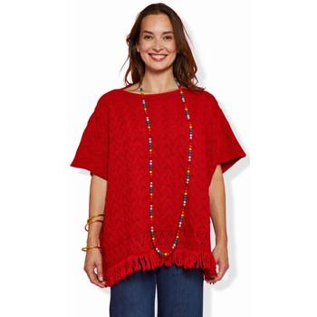 Vêtements Femme Pulls Haut Large Oasis Poncho à Franges Lilas ROUGE