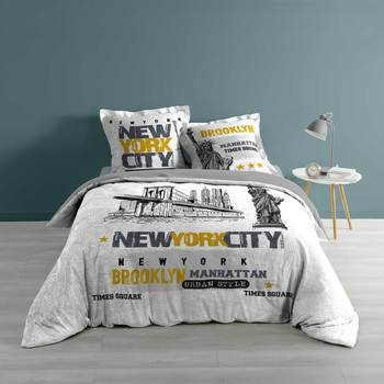 Maison & Déco Parures de lit 1001Kdo Pour La Maison Parure housse couette 240x220 cm New York Multicolore
