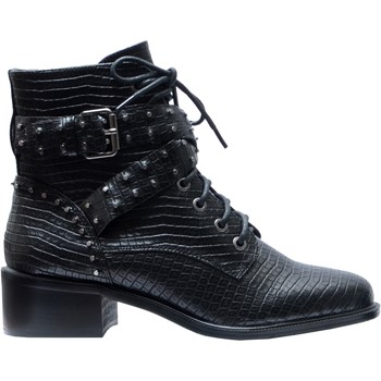 Chaussures Femme Bottines The Divine Factory Bottines Bikers Noir