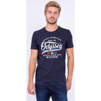 Vêtements T-shirts manches courtes Ritchie T shirt col rond pur coton JOUFAX Bleu marine