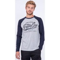 Vêtements T-shirts manches longues Ritchie T shirt col rond pur coton JANDAT Bleu marine