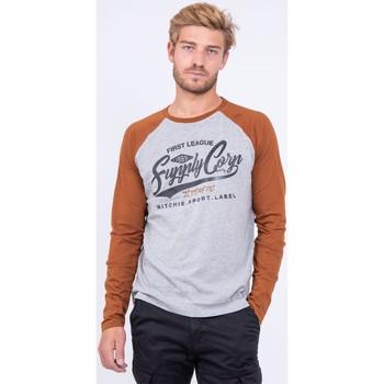 Vêtements T-shirts manches longues Ritchie T shirt col rond pur coton JANDAT Marron