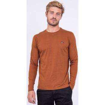 Vêtements T-shirts manches longues Ritchie T shirt col rond pur coton JARYZO Marron